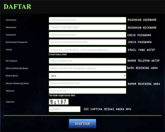 contoh form pendaftaran poker1one